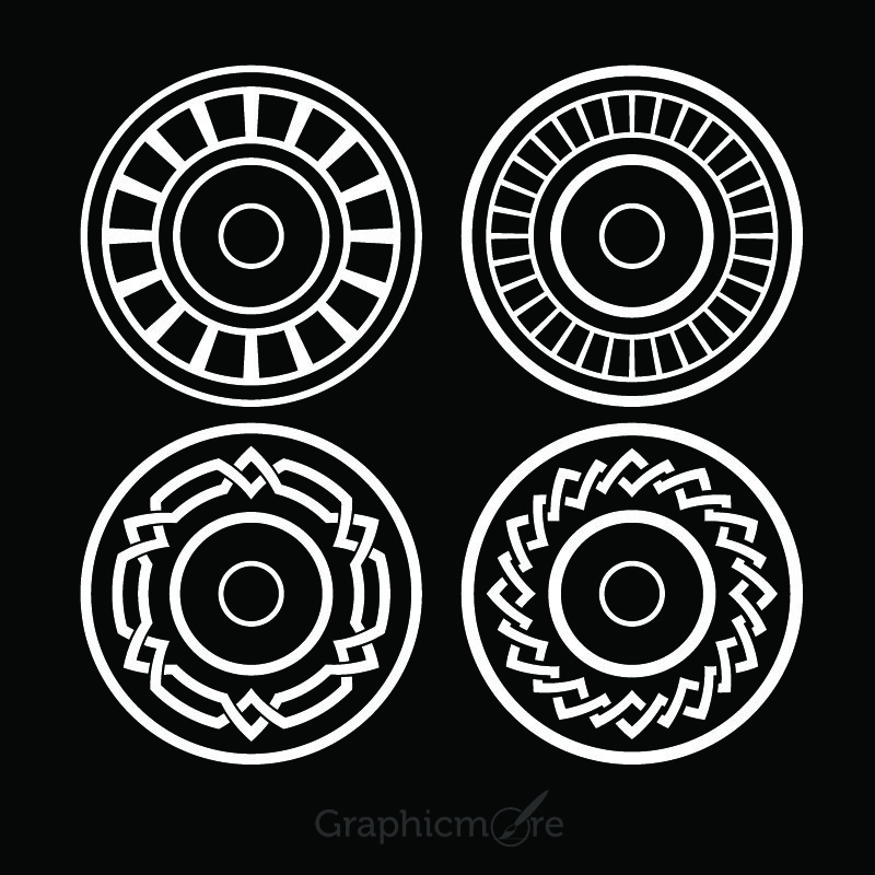 Decorative Circle Shapes Set Design Free Vector File