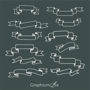Hand Drawn Ribbon Set Design Free Vector File
