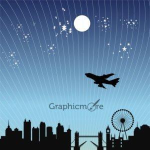 London Night City Skyline Free Vector File