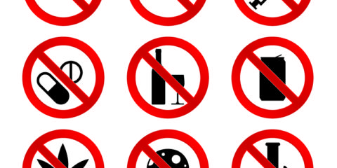 No Drugs Icons Set Design Free Vector File