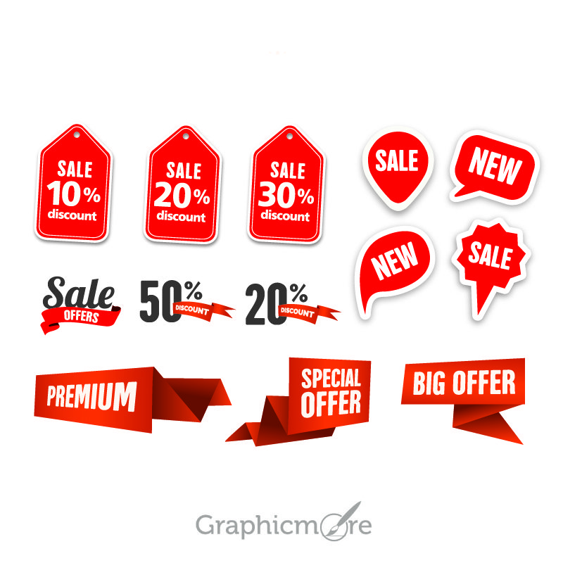 Promo Badges and Labels Design Free Vector File