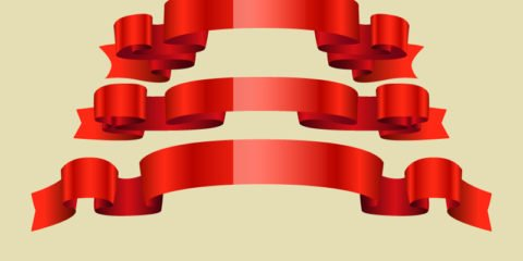 Red Ribbon Sets Design Free Vector File