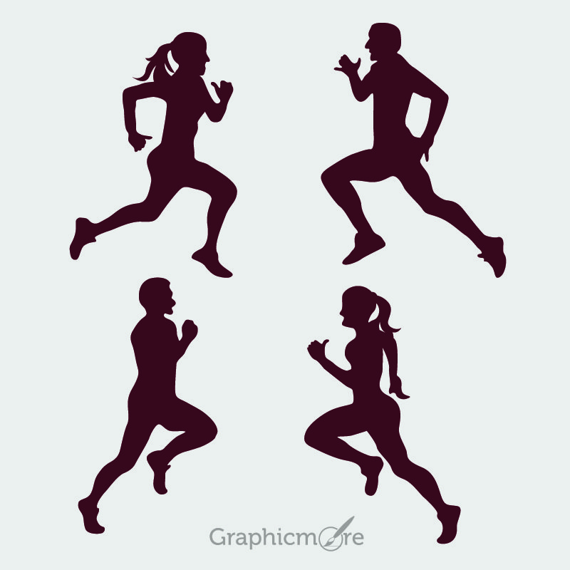 Running Peoples Silhouette Design Free Vector File