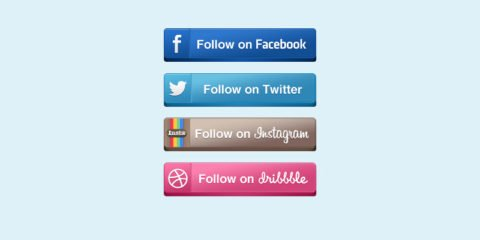 Top 4 Social Media Buttons Design Free PSD File