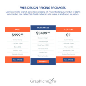 Web Design Pricing Packages Design Free PSD File