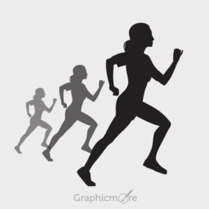 Woman Running Silhouette Design Free Vector File