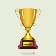 3D Realistic Gold Trophy Design Free Vector File