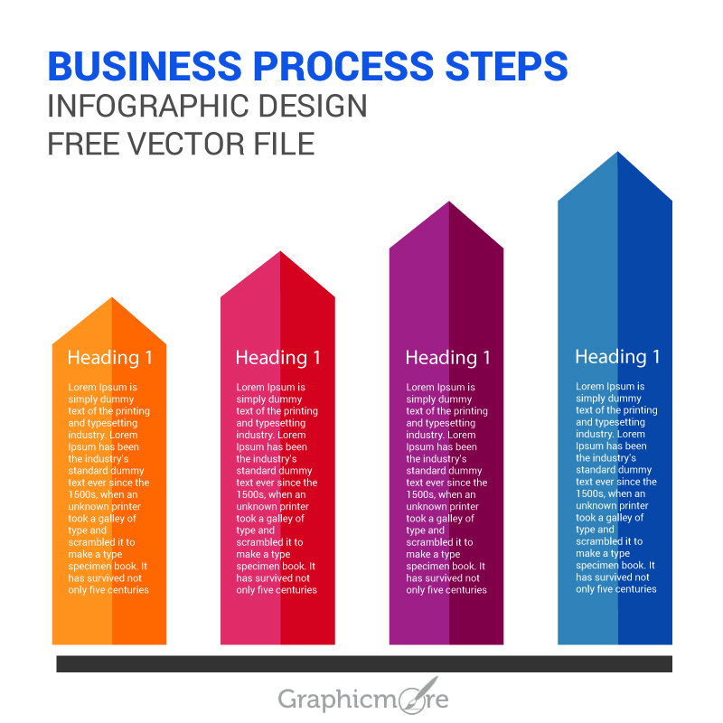 Business Process Steps Infographic Design Free Vector File