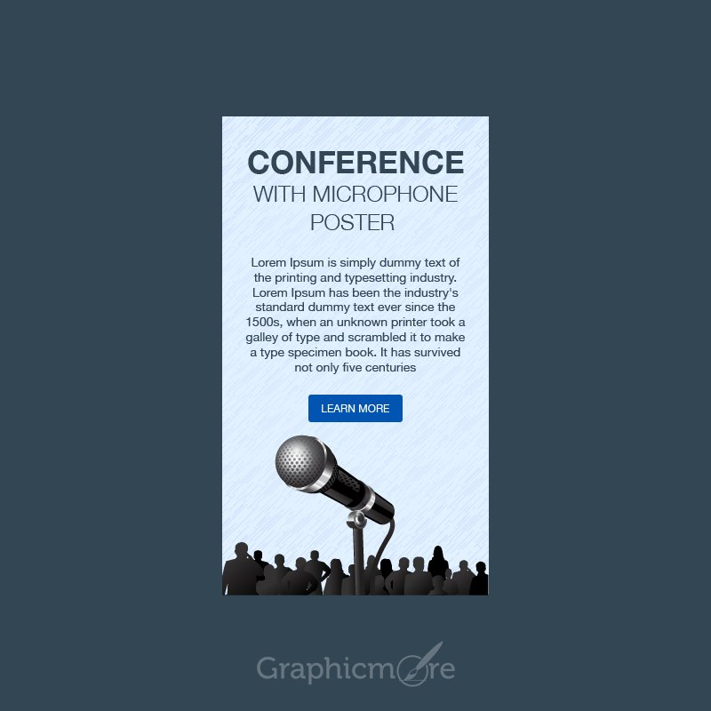 Conference With Microphone Poster Design Free PSD File