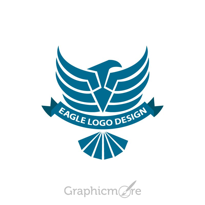 Eagle Dark Blue Logo Design Free PSD File