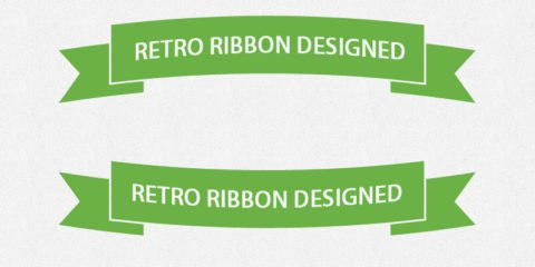 Flat Retro Green Ribbons Design Free PSD File