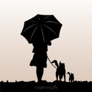 Girl Walking with Dog & Umbrella Silhouette Design Free Vector File