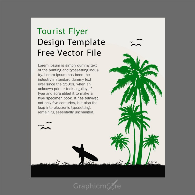 Tourist Flyer Design Template Free Vector File