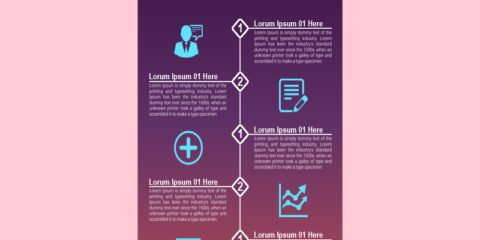 5 Process Steps Infographic Design Free PSD File