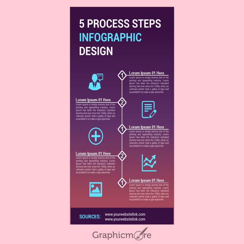 5 Process Steps Infographic Design Free PSD File Download
