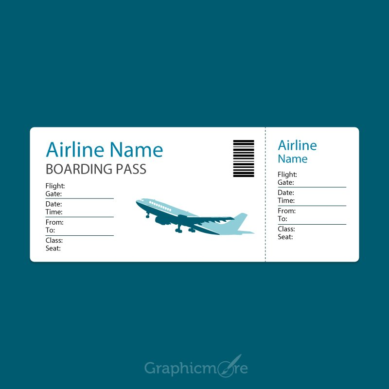 Airline Blue Boarding Pass Template Design Free Vector File