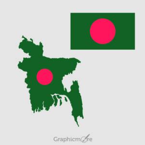Bangladesh Flag and Map Design Free Vector File