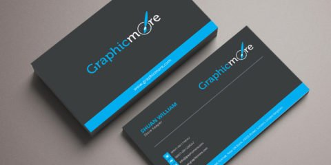 Black & Blue Business Card Template & Mockup Design Free PSD File