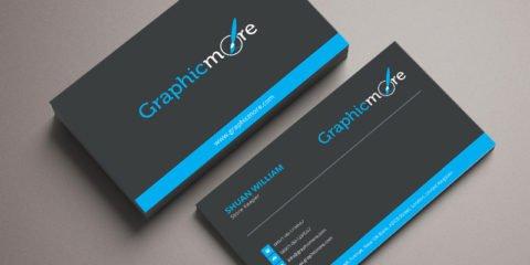 Black & Blue Business Card Template & Mockup Design Free PSD File