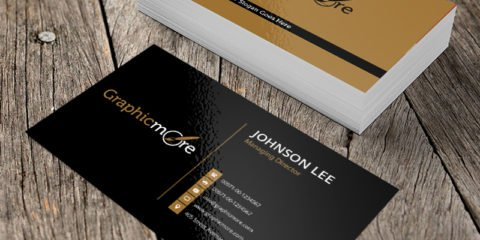 Black & Gloden Business Card Template & Mockup Design Free PSD File