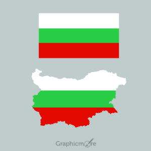 Bulgaria Flag and Map Design Free Vector File