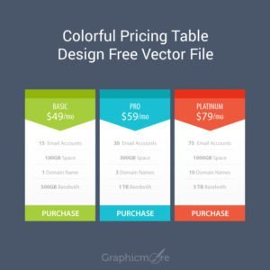 Colorful Pricing Table Design Free Vector File