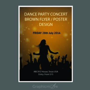 Concert Party Brown Flyer or Poster Design Free Vector File
