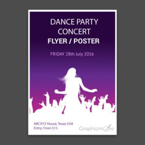 Concert Party Flyer or Poster with Gradient Background Design Free Vector File