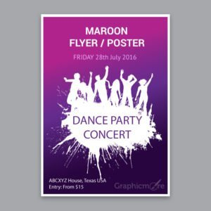 Concert Party Maroon Flyer or Poster Design Free Vector File by GraphicMore