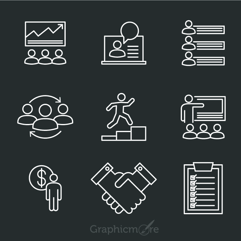 Entrepreneur Icons Design Free Vector File by GraphicMore