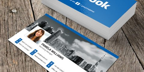 Facebook Blue Business Card Template & Mockup Design Free PSD File