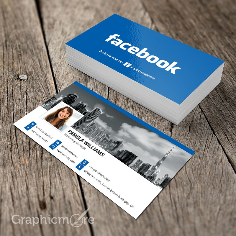 Facebook Blue Business Card Template Mockup Design Free Psd File