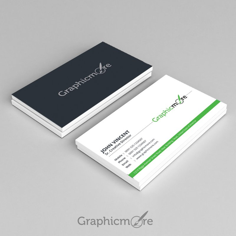free corporate green business card design vector file