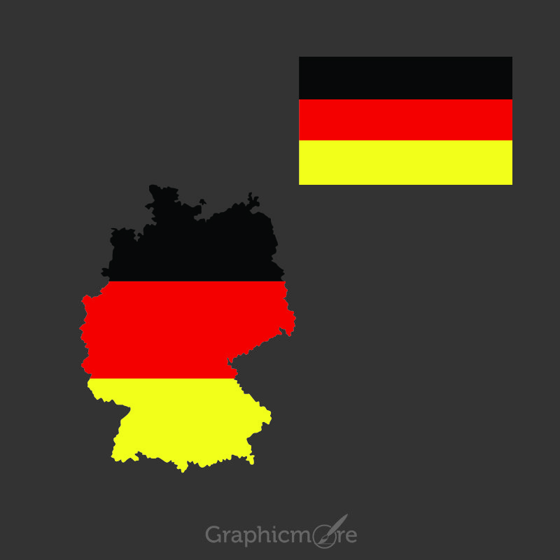 Germany Flag and Map Design Free Vector File