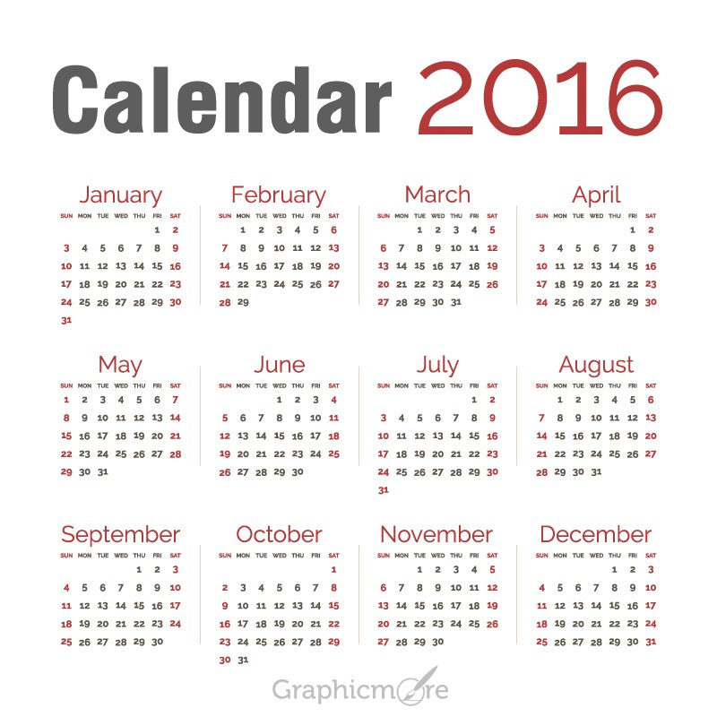 Maroon Calendar 2017 Template Design Free Vector File