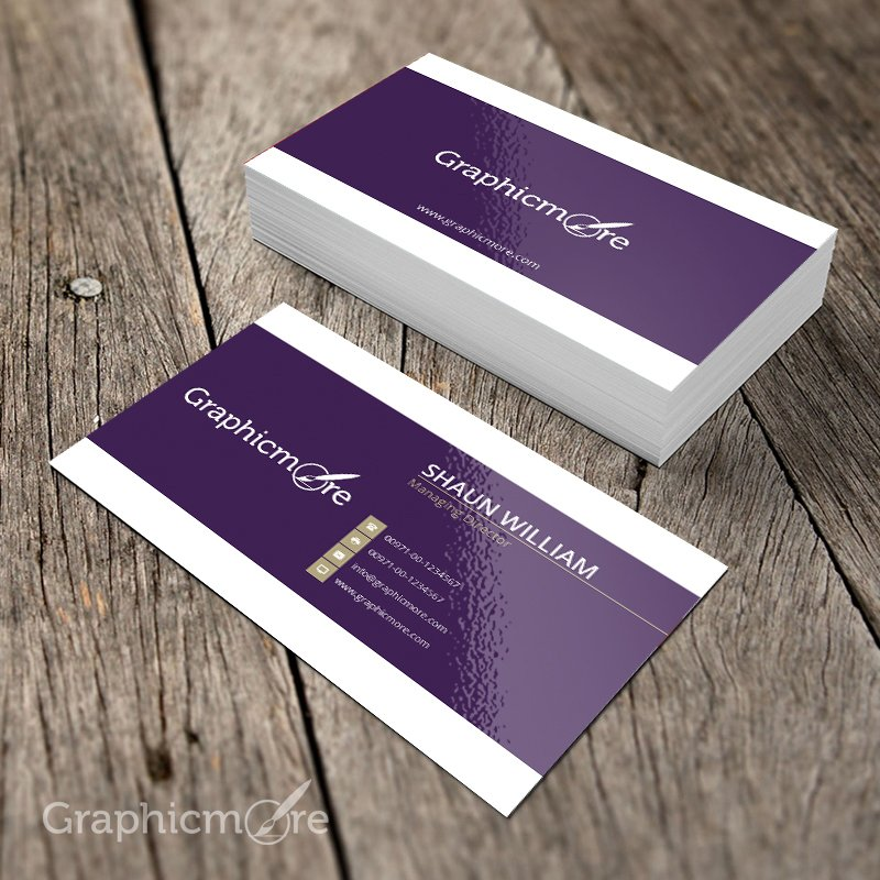 Purple Creative Business Card Template & Mockup Design Free PSD File