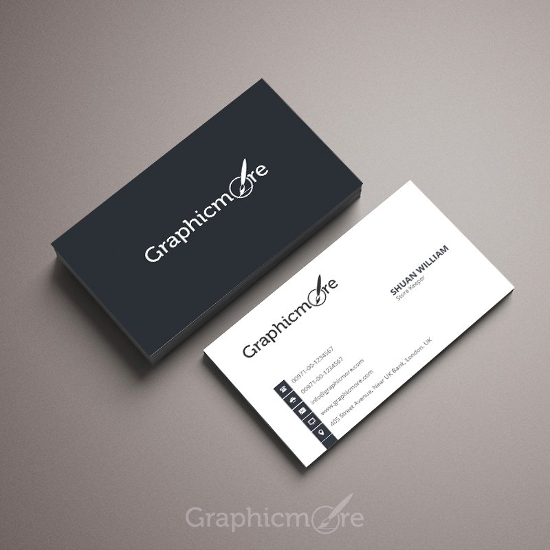 Simple & Corporate Business Card Template Design Free PSD File