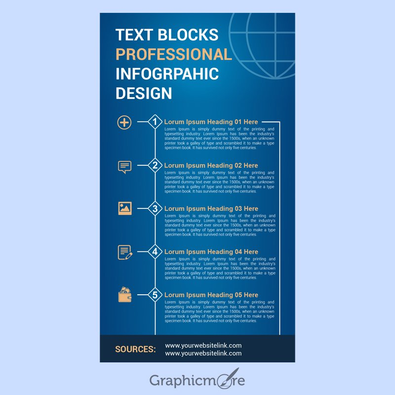 Text Blocks Professional Infographic Design Free PSD File