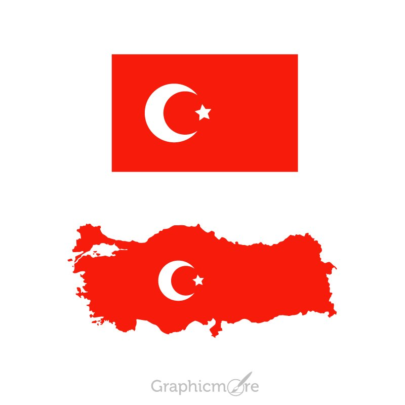 Turkey Flag and Map Design Free Vector File Download