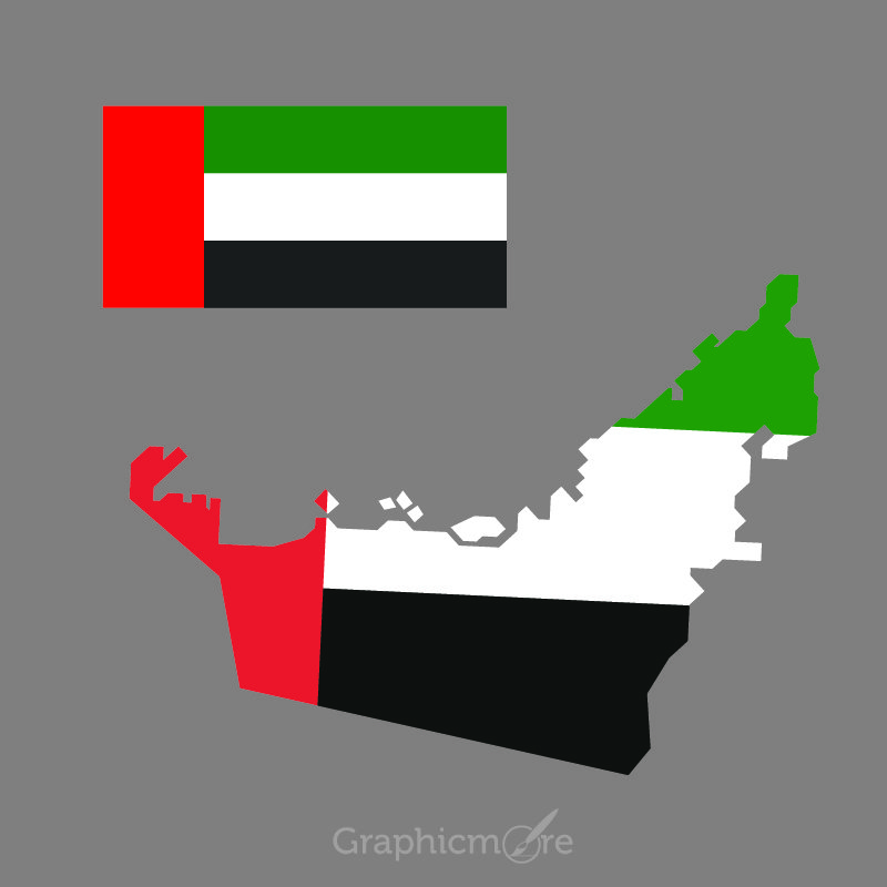 UAE Flag and Map Design Free Vector File