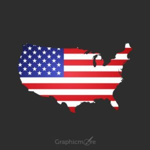 USA Map in Flag Color Design Free Vector File