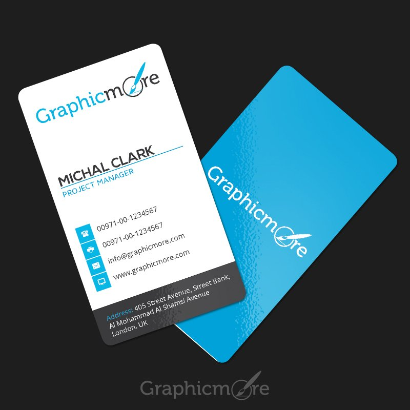 Clean Vertical Rounded Corner Business Card Template & Mockup Design Free PSD File