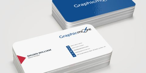 Round Corner Blue Business Card Template & Mockup Design Free PSD File
