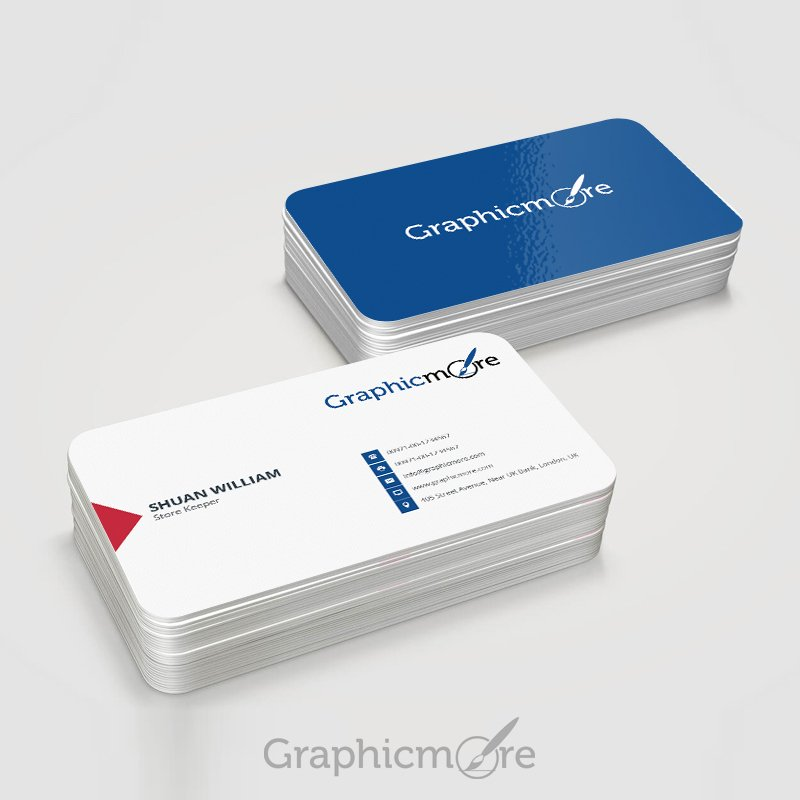 round corner blue business card template  u0026 mockup design free psd
