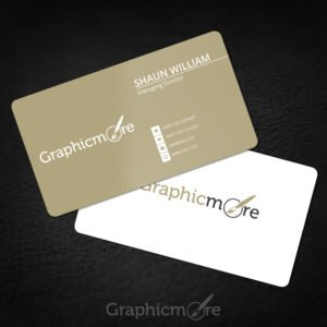 Rounded Corner Gold Business Card Template & Mockup Design Free PSD File