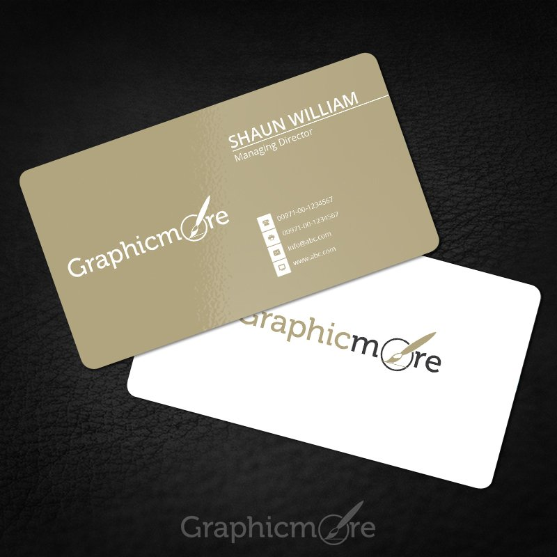Rounded Corner Gold Business Card Template Mockup Design Free Psd File