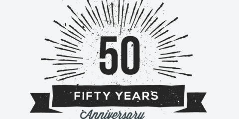 50th Anniversary Retro Label Design Free Vector Download