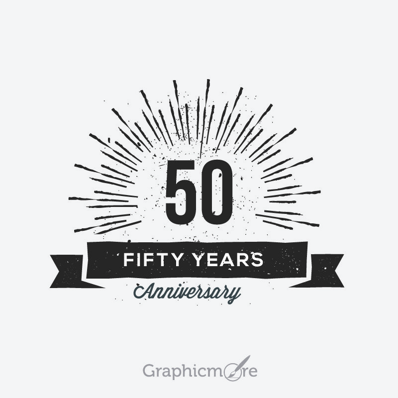 50th Anniversary Retro Label Design Free Vector File