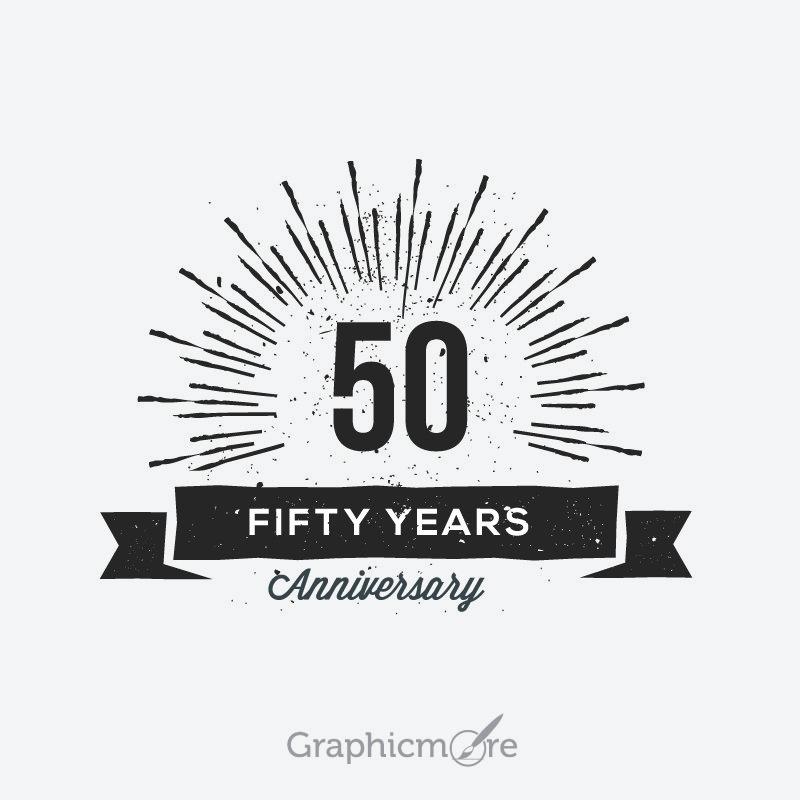 50th Anniversary Retro Label Design Free Vector File