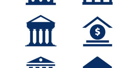 Bank Building Icons Set Design Free Vector File